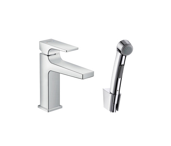 hansgrohe Metropol Bidette 1jet hand shower/ Metropol single lever basin mixer with lever handle set 1.60 m by Hansgrohe | Bidet taps