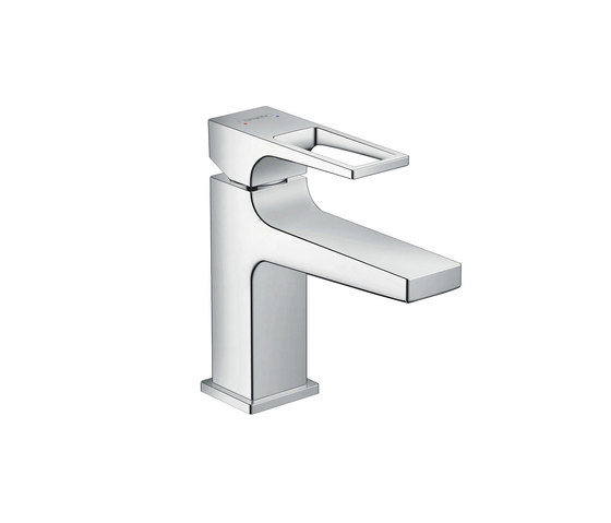 hansgrohe Metropol Single lever basin mixer 100 with loop handle and push-open waste set for hand washbasins by Hansgrohe | Wash basin taps