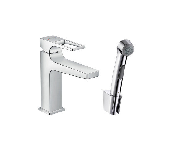 hansgrohe Metropol Mezclador monomando de lavabo con teleducha de bidé con manecilla Loop y vaciador Push-Open de Hansgrohe | Grifería para bidés