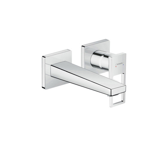 hansgrohe Metropol Single lever basin mixer with loop handle for concealed installation with spout 165 mm wall-mounted by Hansgrohe | Wash basin taps