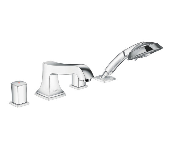 hansgrohe Metropol Classic 4-hole rim mounted bath mixer with zero handle by Hansgrohe | Wash basin taps