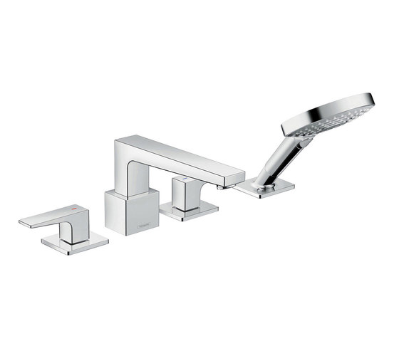 hansgrohe Metropol 4-hole rim mounted bath mixer with lever handles by Hansgrohe   Bath taps