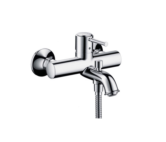 hansgrohe Talis 2-hole rim mounted bath mixer with diverter valve and Croma 100 1jet hand shower by Hansgrohe   Bath taps