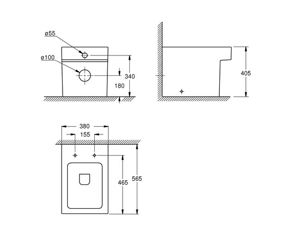 Cube Ceramic Floor standing back to wall WC by GROHE | WC
