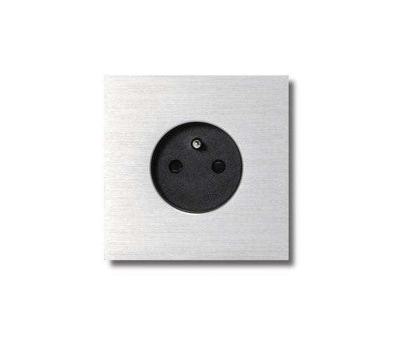 Power outlet - brushed aluminium - 1-gang by Basalte | Schuko sockets