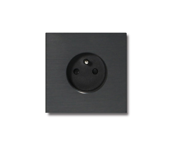Power outlet - brushed dark grey - 1-gang by Basalte | Schuko sockets