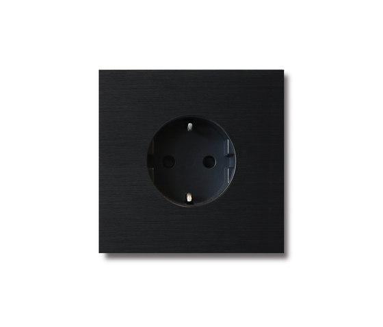 Power outlet - brushed black - 1-gang by Basalte   Sockets