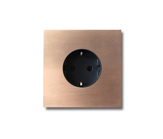 Power outlet - soft copper - 1-gang by Basalte | Schuko sockets
