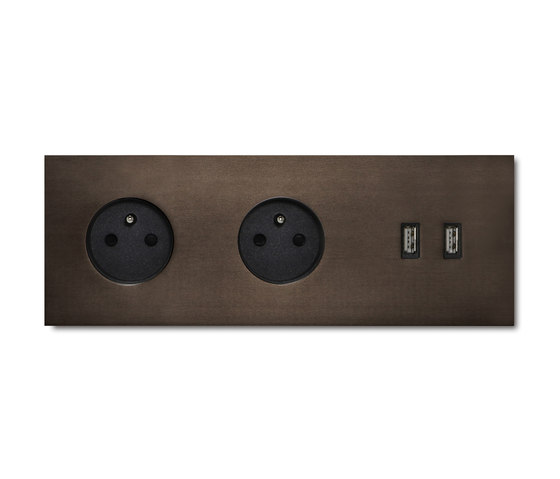 Power USB outlet - Bronze 3 Gang by Basalte | Schuko sockets