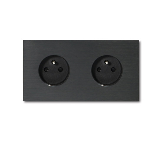 Power outlet - brushed dark grey - 2-gang by Basalte | Schuko sockets