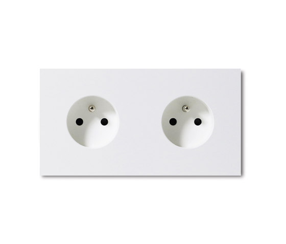 Power outlet - satin white - 2-gang by Basalte | Schuko sockets