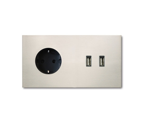 Power USB outlet - nickel 2-Gang by Basalte | Schuko sockets