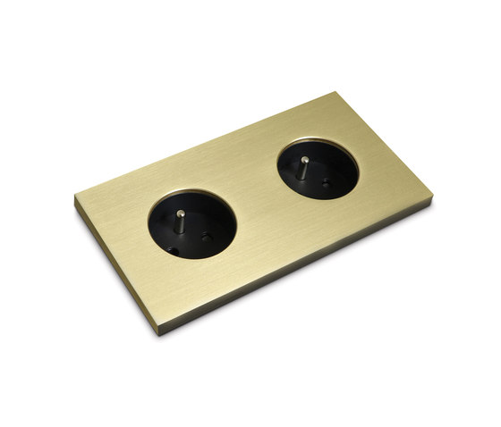 Power outlet - brass - 2-gang by Basalte   Schuko sockets