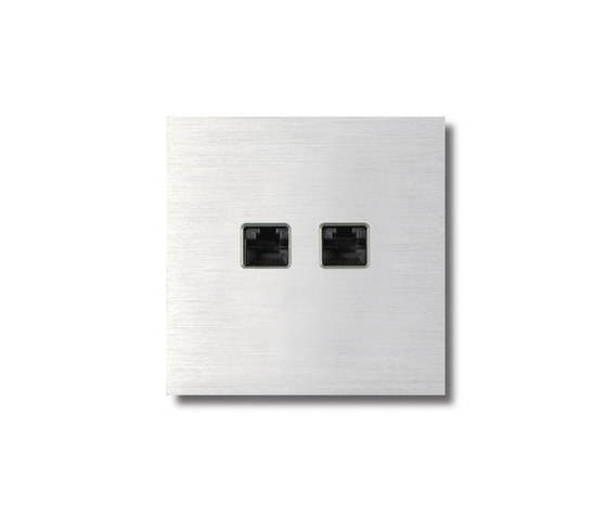 RJ45 outlet - brusched alluminium by Basalte | Ethernet ports