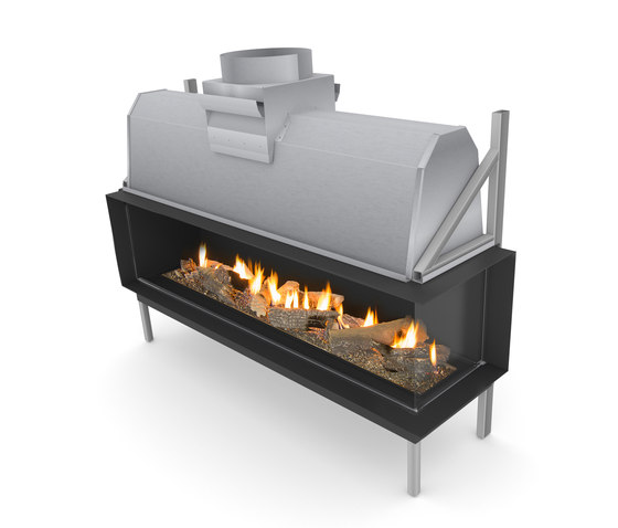 Sinatra FR | Front/Right Glazing 1200 / 1600  / 2000 / 2400 by Planika | Open fireplaces