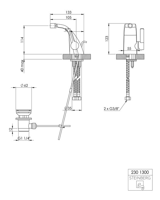 230 1301 Single lever bidet mixer de Steinberg | Grifería para bidés