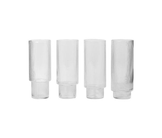 Ripple Long Drink Glasses (set of 4) by ferm LIVING | Glasses