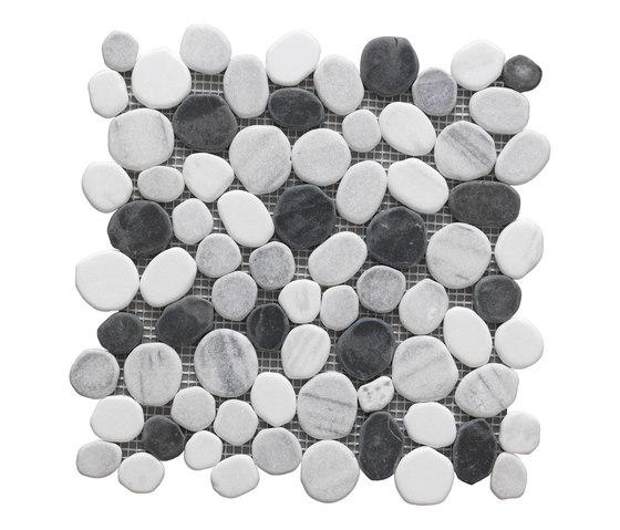 Sassi | River Black Mix Mosaico 30x30 cm de IMSO Ceramiche | Mosaïques en pierre naturelle