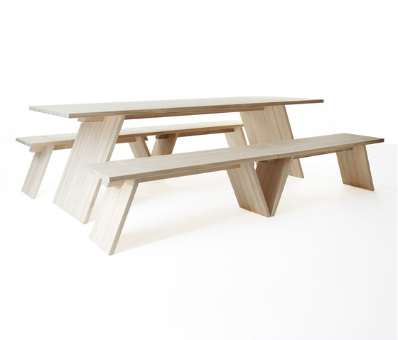 Puzzle table 2400 | bench 1200 by Shaping Objects Scandinavia | Tables and benches