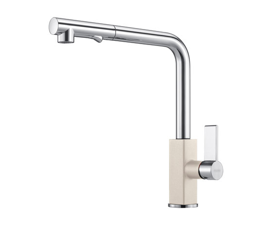 Maris Tap Pull Out L Version Chrome-Coffee by Franke Kitchen Systems | Kitchen taps