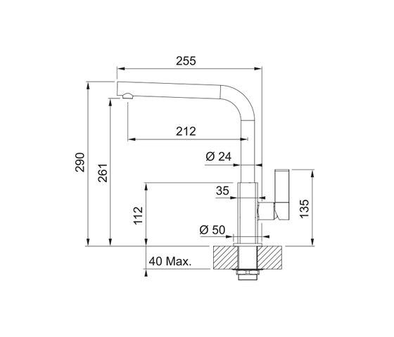 Maris Tap Swivel Spout L Version Chrome-Onyx by Franke Kitchen Systems   Kitchen taps