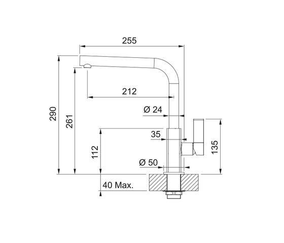 Maris Tap Swivel Spout L Version Nickel Optics by Franke Kitchen Systems | Kitchen taps