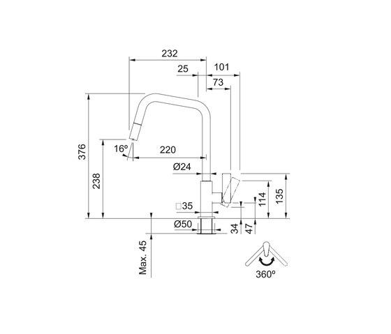 Maris Tap Pull Down U Version Chrome by Franke Kitchen Systems   Kitchen taps