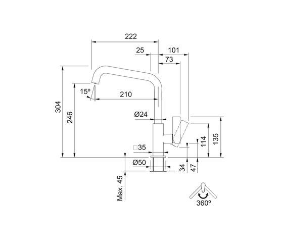 Maris Tap Swivel Spout U Version Chrome by Franke Kitchen Systems | Kitchen taps