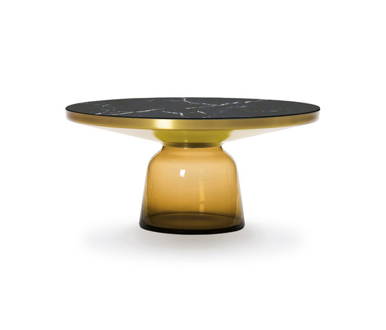 Bell Coffee Table brass-marble-orange by ClassiCon | Coffee tables