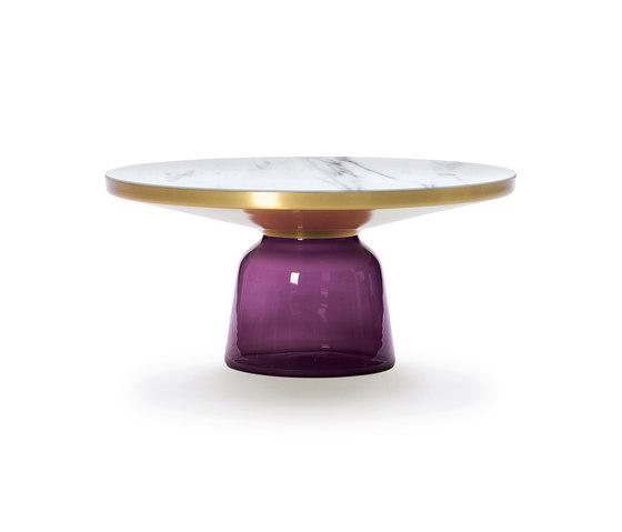 Bell Coffee Table brass-marble-violet de ClassiCon | Mesas de centro