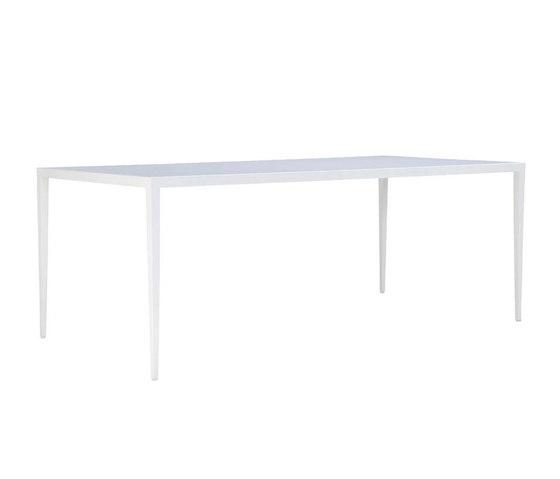 SLANT GLASS TOP DINING TABLE RECTANGLE 200 de JANUS et Cie | Tables de repas