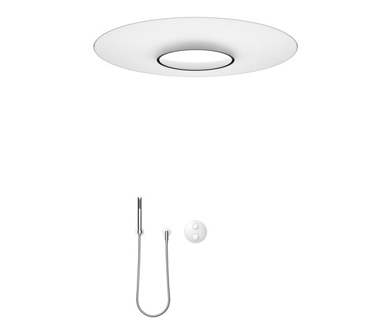 Rounded generic - RAINMOON Rain panel with concealed thermostat with hand shower set by Dornbracht | Shower controls