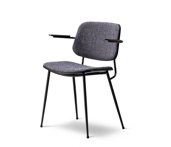 Søborg Steel Base Armchair - seat and back upholstered de Fredericia Furniture | Sillas