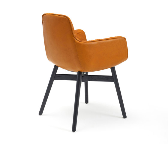 Leya | Armchair High with wooden frame with cross by FREIFRAU MANUFAKTUR | Chairs