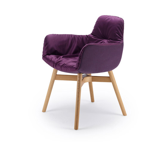 Leya   Armchair High with wooden frame with cross by FREIFRAU MANUFAKTUR   Chairs