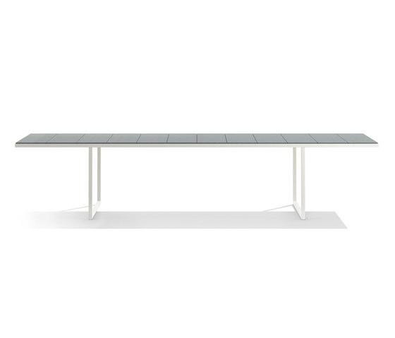 Nox Dining Table - 350 cm - Linen frame, Ocean glazed lava stone de Tribù | Tables de repas