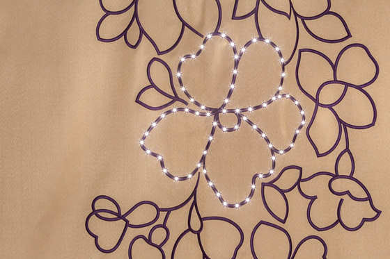Dimout Matt-Bouquet | camel / ivory by Forster Rohner Textile Innovations | Drapery fabrics