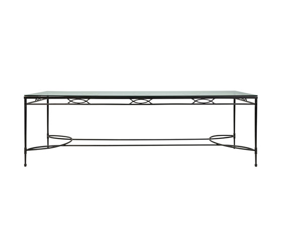 AMALFI GRANDE GLASS TOP DINING TABLE RECTANGLE 244 di JANUS et Cie | Tavoli pranzo