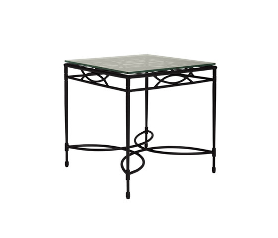 AMALFI WOVEN GLASS TOP SIDE TABLE SQUARE 56 de JANUS et Cie | Mesas auxiliares