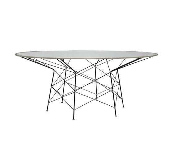 WHISK RATTAN GLASS TOP DINING TABLE ROUND 180 di JANUS et Cie | Tavoli pranzo