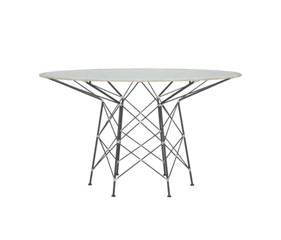 WHISK RATTAN GLASS TOP DINING TABLE ROUND 130 by JANUS et Cie | Dining tables