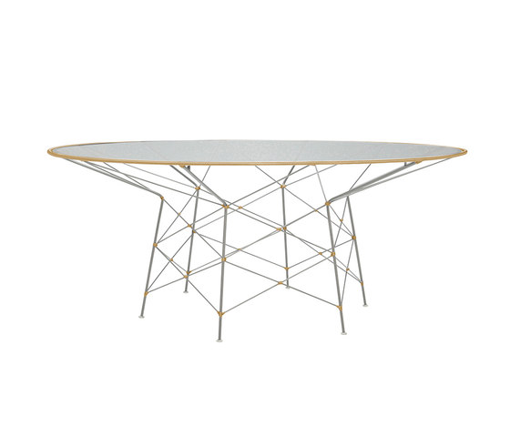 WHISK GLASS TOP DINING TABLE ROUND 180 de JANUS et Cie | Mesas comedor