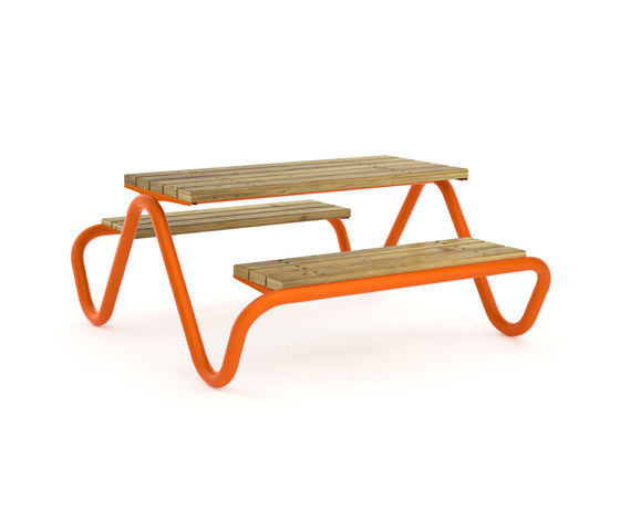 Hvilan double bench and table by Vestre | Tables and benches