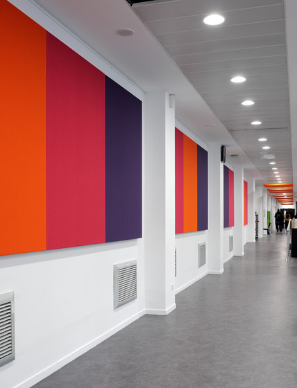 Stereo acoustic panels mounted to a support surface by Texaa® | Sound absorbing wall systems