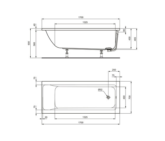 Connect Air Körperform-Badewanne 1700 x 700 mm by Ideal Standard | Bathtubs