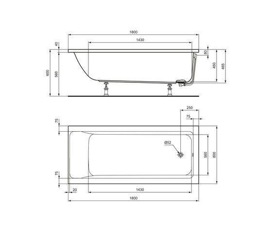 Connect Air Körperform-Badewanne 1800 x 800 mm by Ideal Standard | Built-in bathtubs