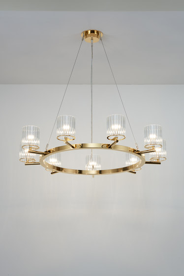 Flute Chandelier polished gold by Tom Kirk Lighting | Chandeliers
