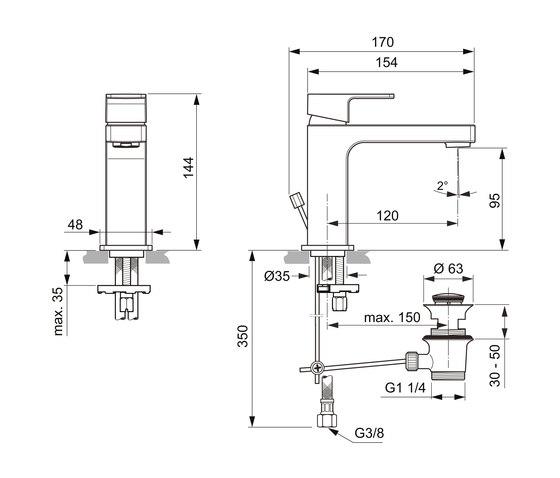 Edge Waschtischarmatur Slim by Ideal Standard | Wash basin taps