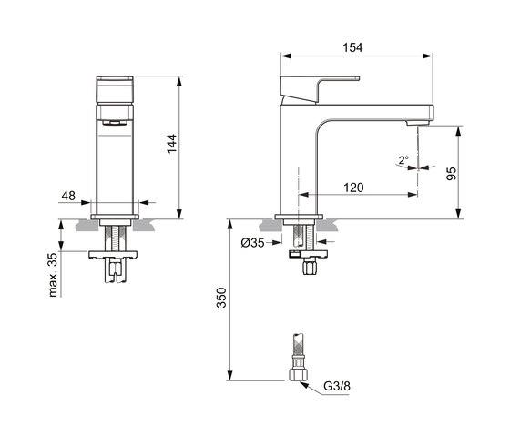 Edge Waschtischarmatur Slim ohne Ablaufgarnitur by Ideal Standard | Wash basin taps