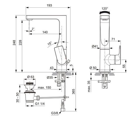 Edge Waschtischarmatur mit hohem schwenkbarem Auslauf by Ideal Standard | Wash-basin taps